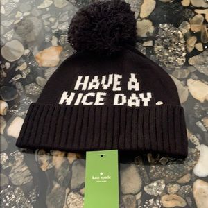 Kate Spade have a nice day beanie winter hat nwt